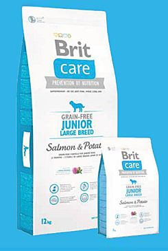 Brit Care Dog Grain-free Junior LB Salmon & Potato 3x12kg+DOPRAVA ZDARMA+SNACKS!