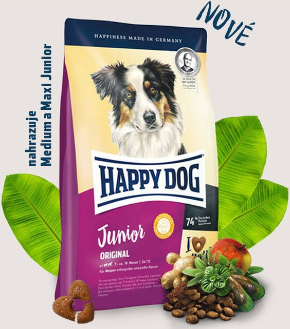 HAPPY DOG Junior Original 2x10kg + DOPRAVA ZDARMA+  1x Dental Snacks!