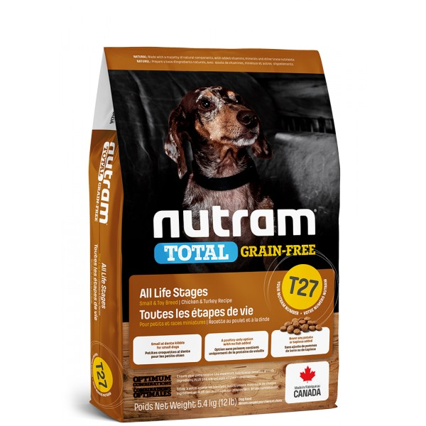 T27 Nutram Total Grain Free Small Breed Turkey, Chicken, Duck Dog 2x5,4kg+pamlsek+DOPRAVA ZDARMA