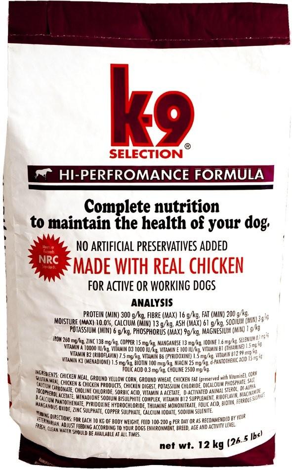 K-9 Selection HI-PERFORMANCE 1 kg (+2% SLEVA PO REGISTRACI/PŘIHLÁŠENÍ)