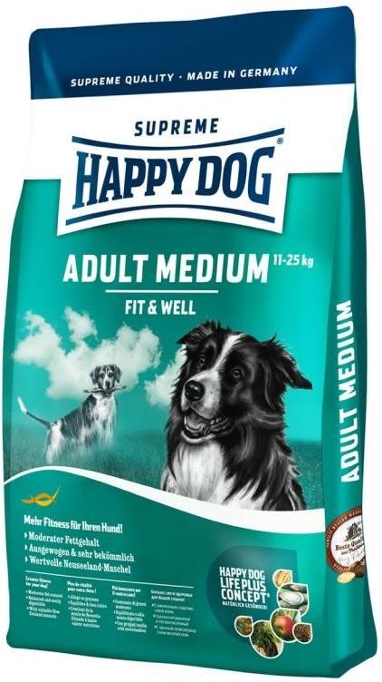 Happy Dog Supreme Fit & Well Adult Medium 3x12,5kg+DOPRAVA ZDARMA+Dental Snacks! (+ SLEVA PO REGISTRACI/PŘIHLÁŠENÍ! ;))