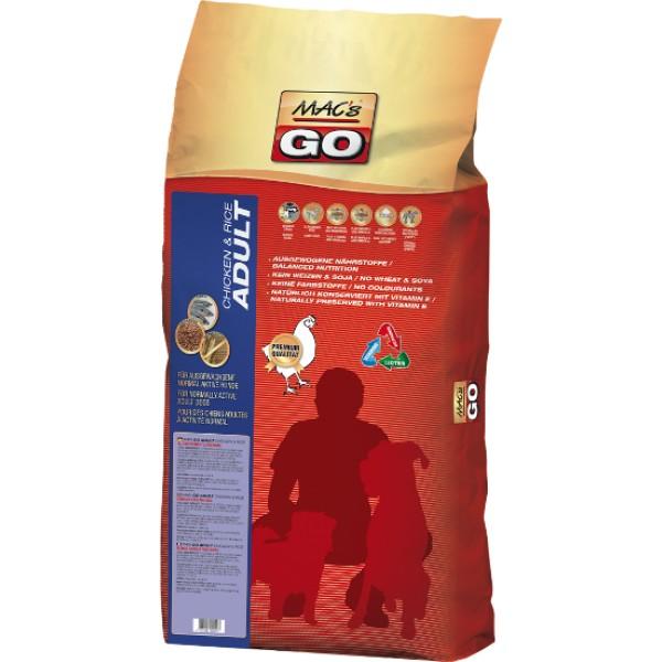 MACs Dry GO Dospělý Kuře & Rýže 3 x 12 kg