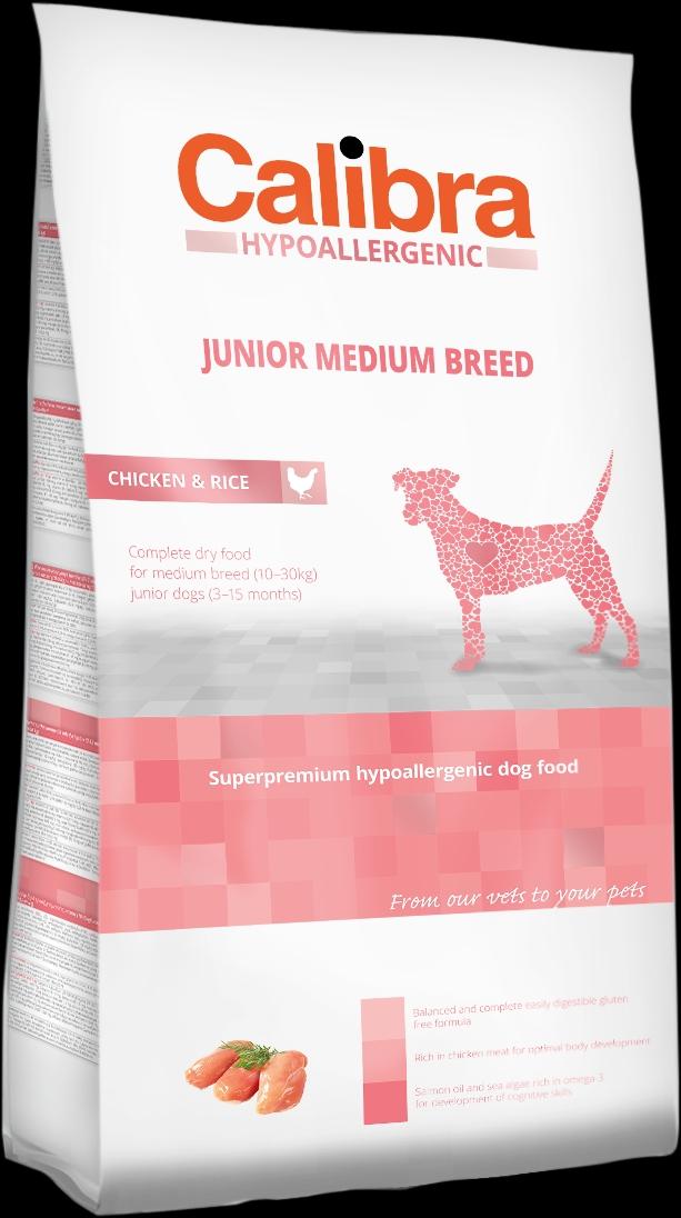 Calibra Dog HA Junior Medium Breed Chicken 3kg NEW (+SLEVA PO REGISTRACI/PŘIHLÁŠENÍ)