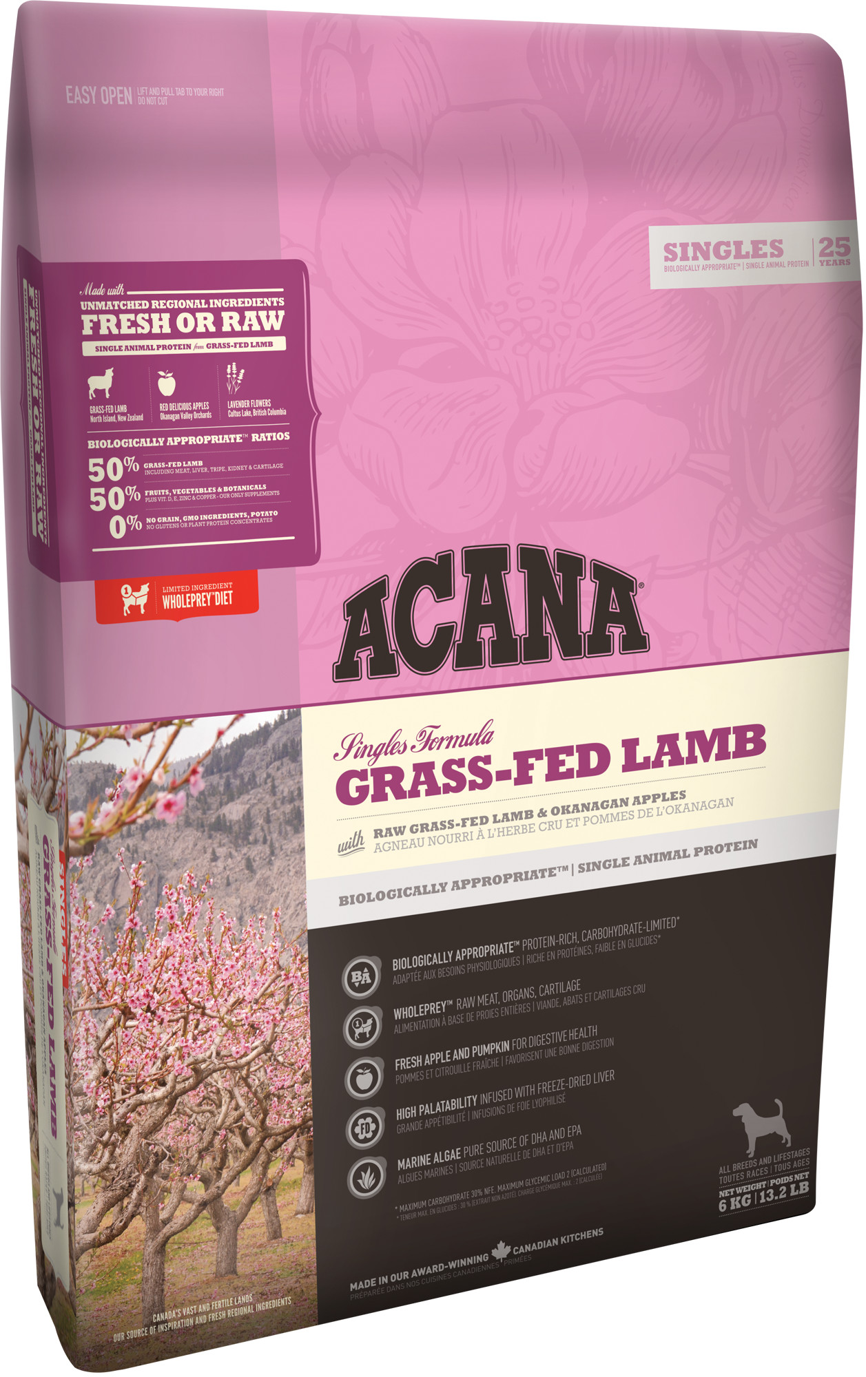 Acana Dog Grass-Fed Lamb Singles 2 x 17kg