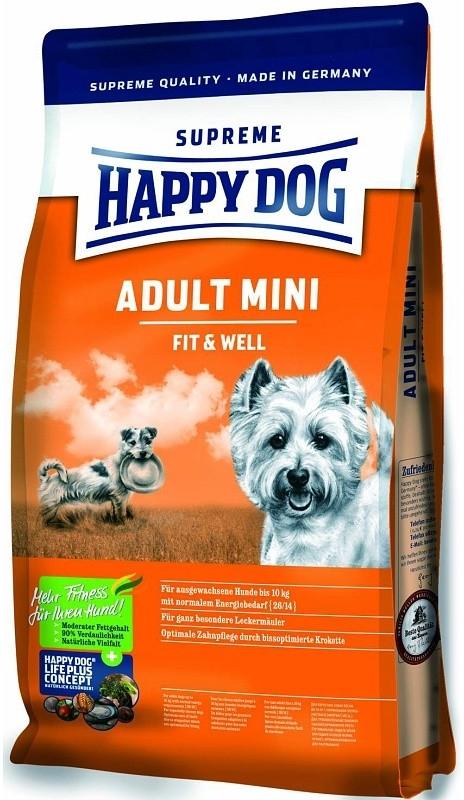 HAPPY DOG SUPREME Fit & Well ADULT MINI 4kg (+ 2% SLEVA PO REGISTRACI/PŘIHLÁŠENÍ! ;))