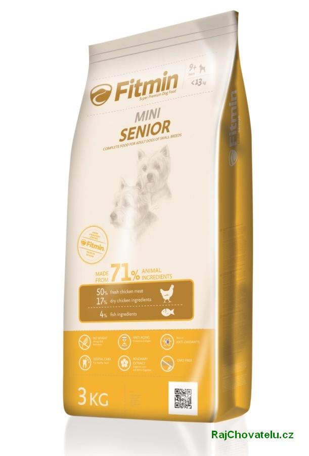 Fitmin dog mini senior 3 kg NOVÝ (+ 2% SLEVA PO REGISTRACI / PŘIHLÁŠENÍ!)