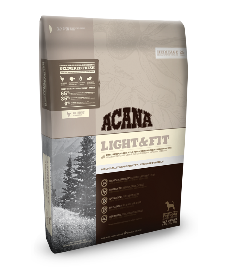 Acana dog Light & Fit Heritage 11,4 kg + DOPRAVA ZDARMA + Dental Snacks ZDARMA!
