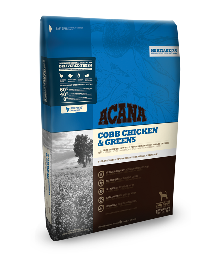 Acana Dog ADULT / Cobb Chicken & Greens Heritage 17 kg + DOPRAVA ZDARMA+1x Insecto Bones!