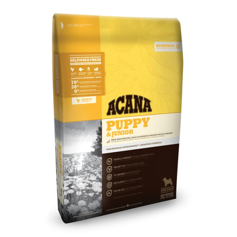 ACANA DOG Puppy Junior Heritage 2x17kg+DOPRAVA ZDARMA+Dental Snacks!