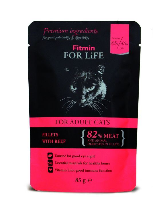 Fitmin for Life Cat hovězí 85g kapsička