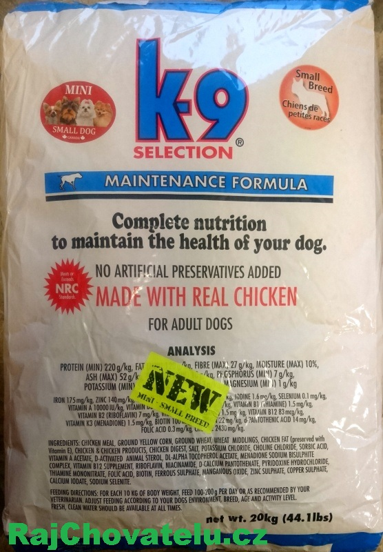 K-9 Selection Maintenance Small Breed 20 kg+DOPRAVA ZDARMA+pamlsek